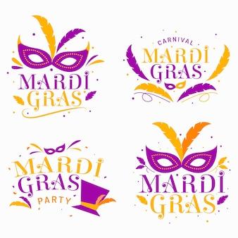 Colección de etiquetas de mardi gras violetas y doradas