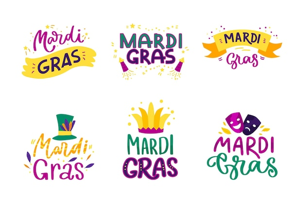 Colección de etiquetas de mardi gras