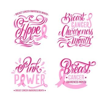 Colección de etiquetas del mes de concientización sobre el cáncer de mama