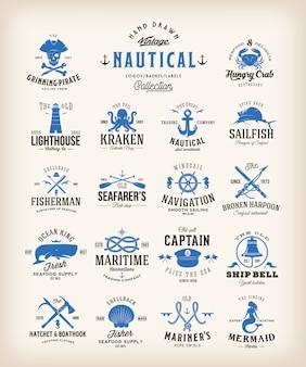 Colección de etiquetas náuticas retro
