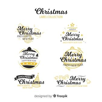 Colección etiquetas navidad detalles dorados