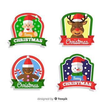 Colección de etiquetas de navidad en diseño plano