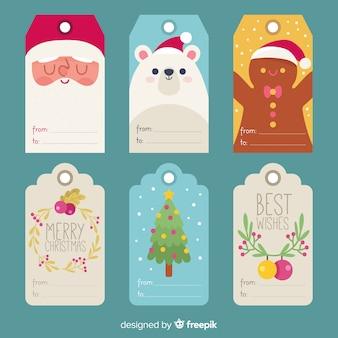 Colección etiquetas navidad elementos