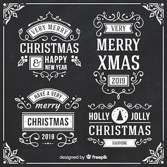 Colección de etiquetas de navidad de pizarra