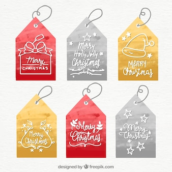 Colección de etiquetas navideñas de acuarela
