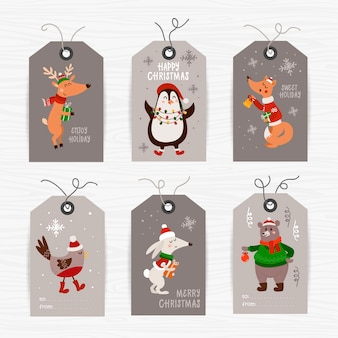 Colección de etiquetas navideñas con animales y deseos navideños. plantillas de tarjetas imprimibles.