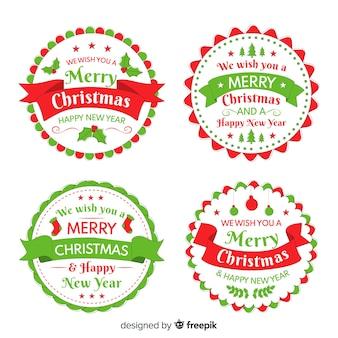 Colección de etiquetas navideñas dibujadas a mano