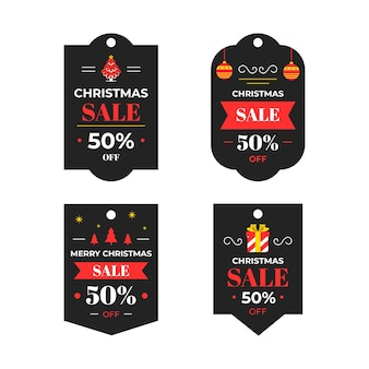 Colección de etiquetas navideñas en diseño plano