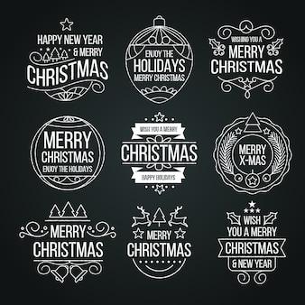 Colección de etiquetas navideñas en pizarra