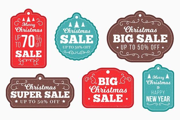 Colección de etiquetas navideñas planas