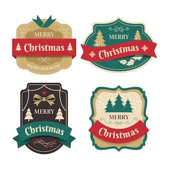 Colección de etiquetas navideñas vintage