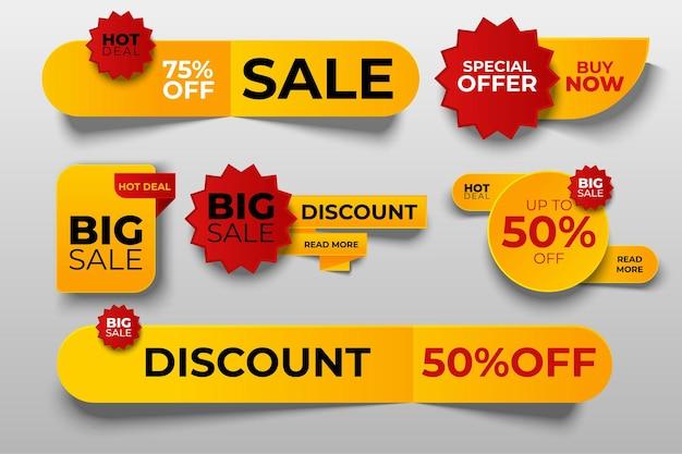 Colección de etiquetas de oferta especial, conjunto de elementos de banner para sitio web y publicidad.