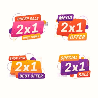 Colección de etiquetas de oferta especial ovaladas 2x1