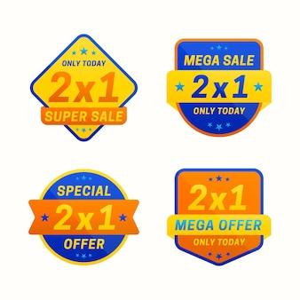 Colección de etiquetas de oferta especial ribbon 2x1