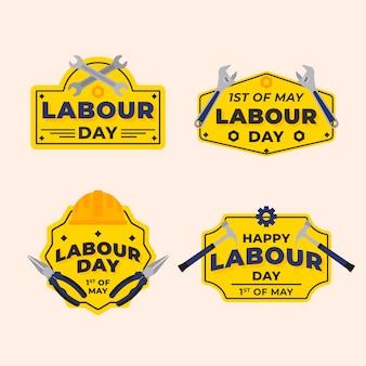 Colección de etiquetas orgánicas del día del trabajo plano