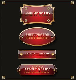 Colección de etiquetas de oro elegante aniversario
