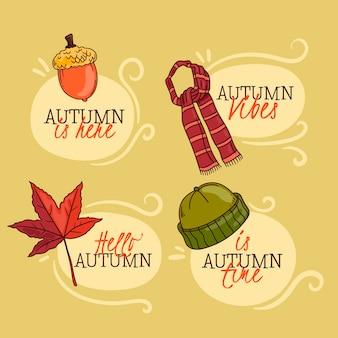 Colección de etiquetas de otoño de diseño dibujado a mano