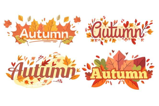 Colección de etiquetas de otoño de diseño plano