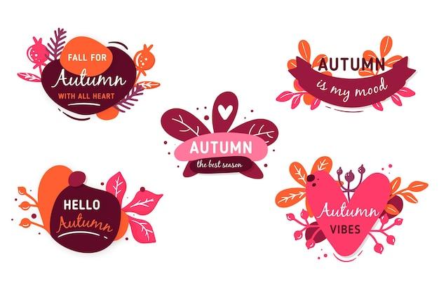 Colección de etiquetas de otoño