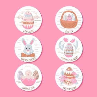 Colección de etiquetas de pascua con conejitos y huevos dibujados a mano