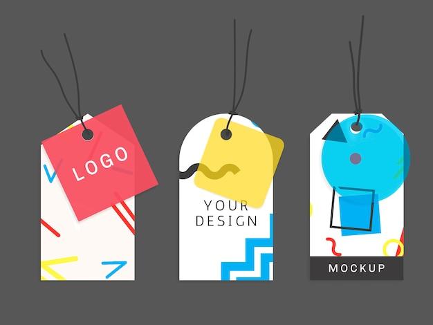 Colección de etiquetas de patrones de memphis