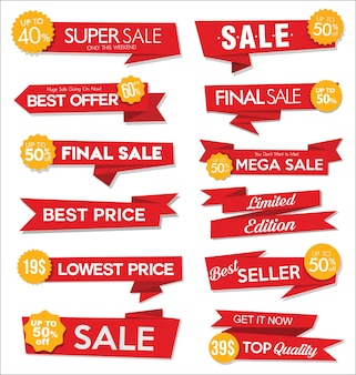 Colección de etiquetas y pegatinas de rebajas rojas