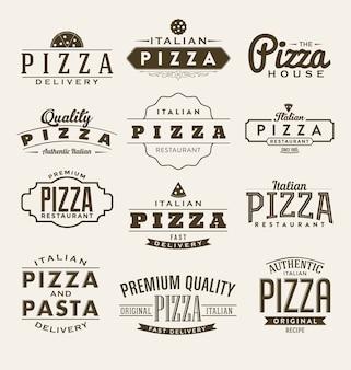 Colección de etiquetas de pizza