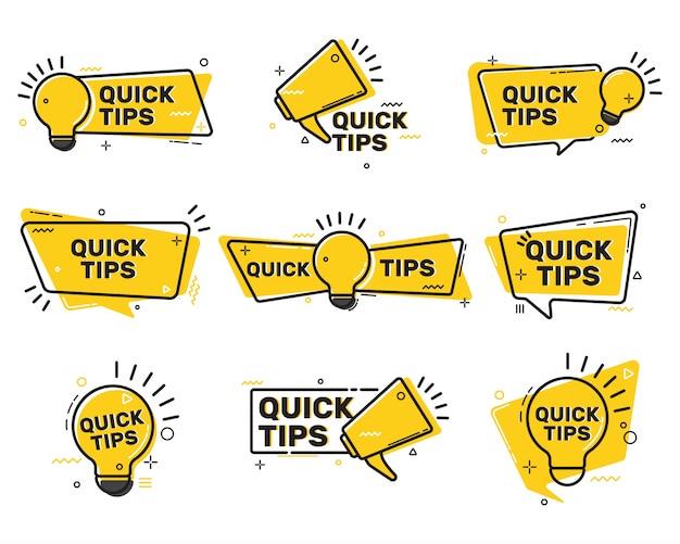 Colección de etiquetas planas de consejos rápidos