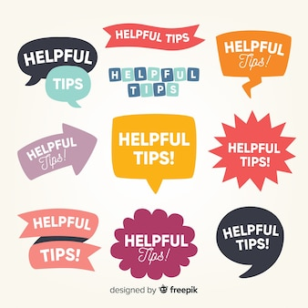Colección etiquetas planas consejos útiles
