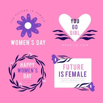 Colección de etiquetas planas del día internacional de la mujer
