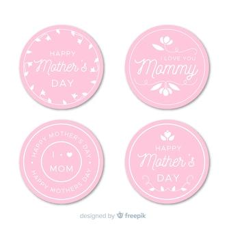 Colección etiquetas planas día de la madre