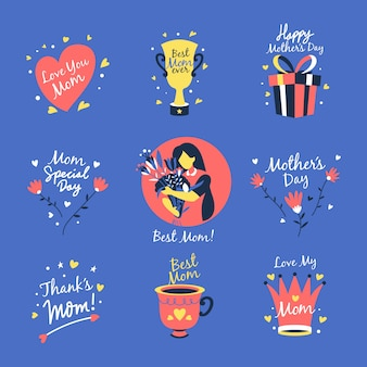 Colección de etiquetas planas para el día de la madre