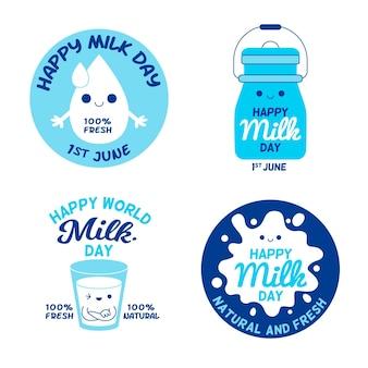 Colección de etiquetas planas del día mundial de la leche