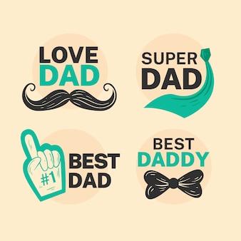 Colección de etiquetas planas para el día del padre