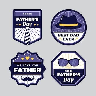 Colección de etiquetas planas del día del padre