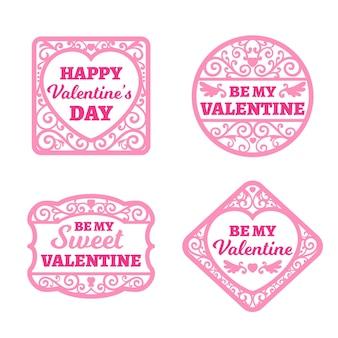 Colección de etiquetas planas del día de san valentín