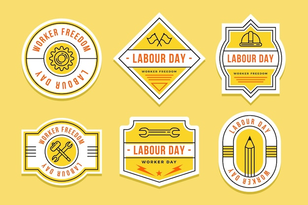 Colección de etiquetas planas del día del trabajo