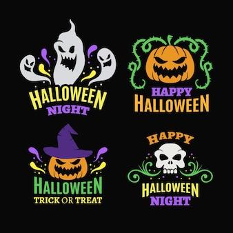 Colección de etiquetas planas de halloween
