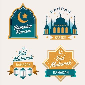 Colección de etiquetas planas de ramadán