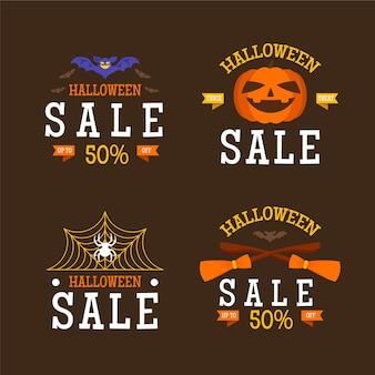 Colección de etiquetas planas de rebajas de halloween