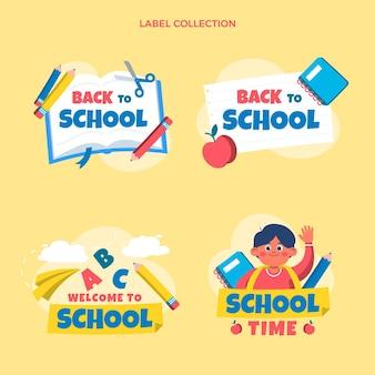 Colección de etiquetas planas de regreso a la escuela