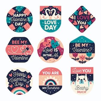 Colección de etiquetas planas de san valentín