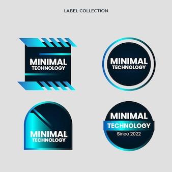 Colección de etiquetas planas de tecnología mínima.