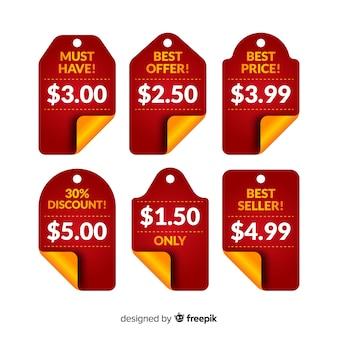 Colección etiquetas precios planas