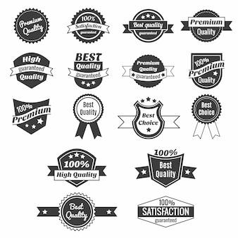 Colección de etiquetas de precios de productos y distintivos.