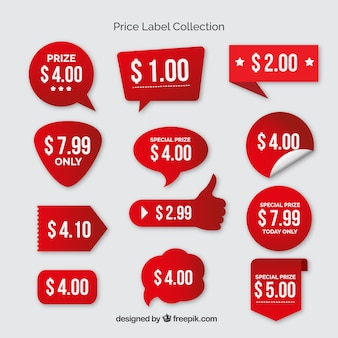 Colección de etiquetas de precios rojas