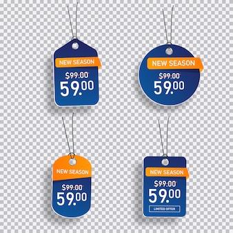 Colección de etiquetas de precios de venta