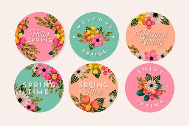 Colección de etiquetas de primavera en acuarela