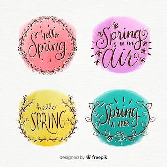 Colección etiquetas primavera caligráficas