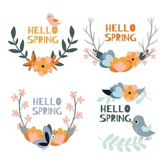 Colección de etiquetas de primavera dibujadas a mano